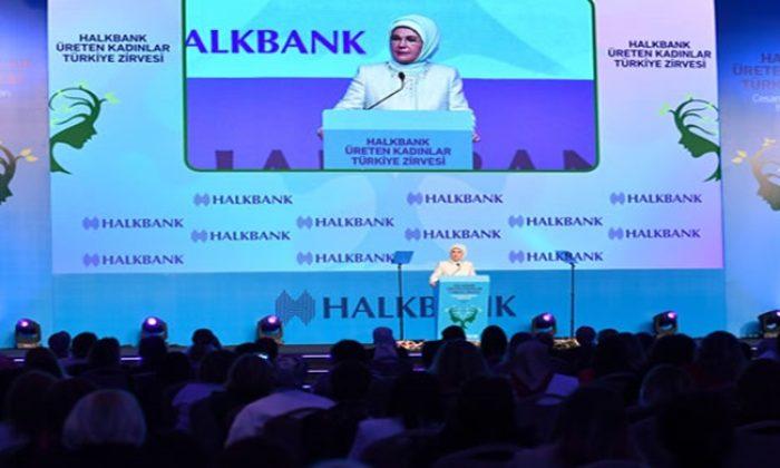 """Emine Erdoğan, """"Halkbank Üreten Kadınlar Türkiye Zirvesi""""ne katıldı"""